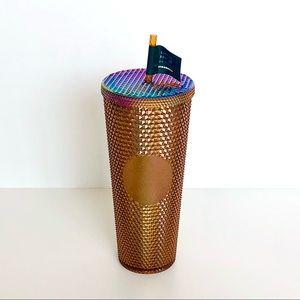 """NWT Starbucks 2021 """"Honeycomb"""" Gold Cold Cup"""
